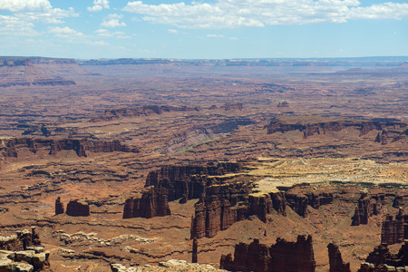 Aerial view of canyon and Colorado River from Grand View Point in Canyonlands National Park, Moab, Utah, USA.