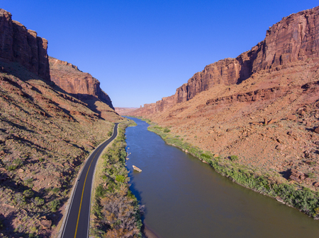 Aerial view of Colorado River near Arches National Park in Moab, Utah, USA. Reklamní fotografie