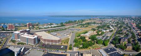 Lake Erie and Buffalo City panorama, viewed from Buffalo City Hall, New York, USA. Stock Photo