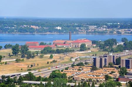 Lake Erie and Colonial Francis G. Ward Pumping Station, Buffalo, New York, USA. Stock Photo