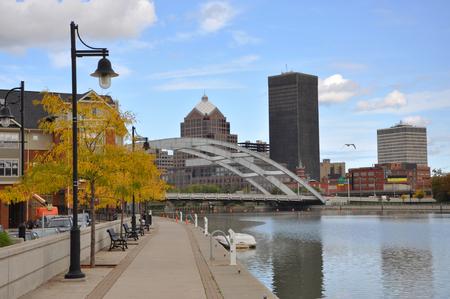 Rochester Downtown Skyline and bridge, Upstate New York, USA.