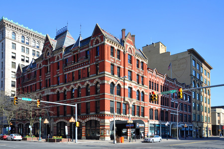 Historic White Memorial Building was built in 1876 with Victorian Gothic style on 100 East Washington Street in downtown Syracuse, New York State, USA.