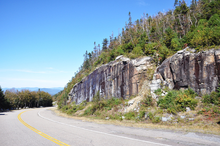 Whiteface Mountain Veterans Memorial Highway climbs Whiteface Mountain in the Adirondacks, New York State, USA. Stock Photo