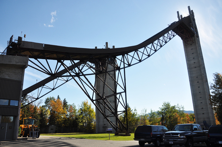 Ski Jump in Lake Placid Olympic Jumping Complex, New York State, USA. Lake Placid hosted 1932 and 1980 Winter Olympic Games.