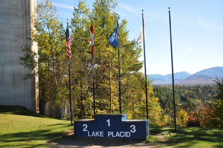 Olympic Champion Podium in Lake Placid Olympic Jump Complex in Adirondack Mountains, New York State, USA. 新聞圖片