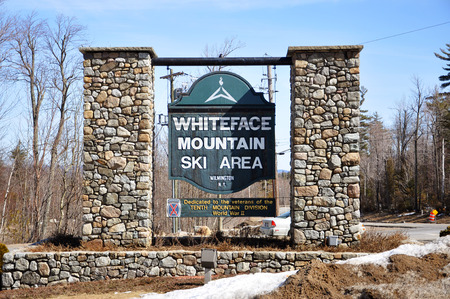 Entrance to Whiteface Mountain Ski Area, the official ski area for 1932 and 1980 Winter Olympic Games, Adirondack Mountains, New York, USA.
