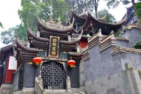 Historic Er Wang (means Two Kings) Temple in Dujiangyan, Sichuan Province, China. Dujiangyan Irrigation System is a World Heritage Site since 2000.