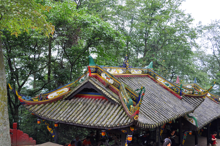 Historic Building roof on Mount Qingcheng Shan in Dujiangyan, Sichuan, China. Mount Qingcheng is UNESCO World Heritage Site