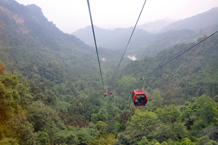 Gondola of Mount Qingcheng Qing Cheng Shan in the city of Dujiangyan, Sichuan Province, China. Mount Qingcheng is UNESCO World Heritage Site since 2000. Redakční