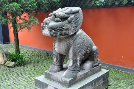 Lion on Sacred Way of Wuhou Temple Wu Hou Ci in Chengdu, Sichuan Province, China. Wuhou Temple Memorial Temple of Marquis Wu is dedicated to Zhuge Liang