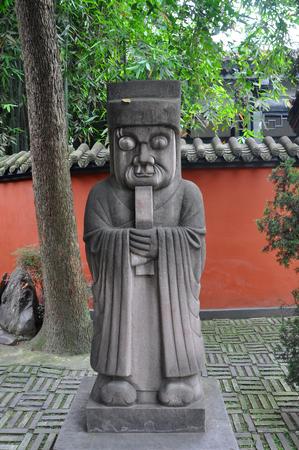 Stone Figure on Sacred Way of Wuhou Temple Wu Hou Ci in Chengdu, Sichuan Province, China. Wuhou Temple Memorial Temple of Marquis Wu is dedicated to Zhuge Liang