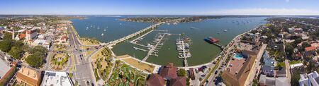 Bridge of Lions aerial view panorama over Matanzas River in St. Augustine, Florida, USA.