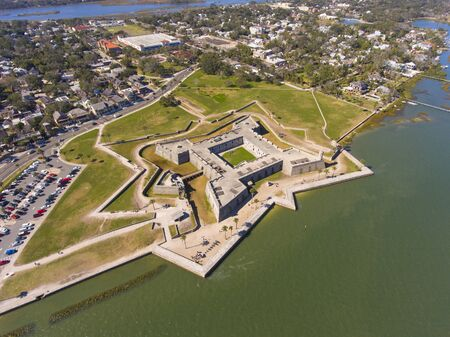 Aerial view of Castillo de San Marcos in St. Augustine, Florida, USA. This fort is the oldest and largest masonry fort in Continental United States and now is the US National Monument.