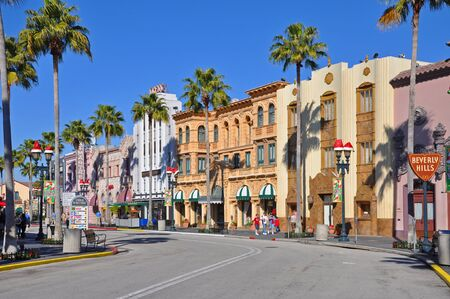 Hollywood Boulevard in Beverly Hills in Universal Studios Florida, Orlando, Florida, USA. Редакционное