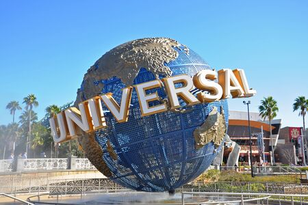 Universal Globe at the entrance to Universal Studios Park in Orlando, Florida, USA.
