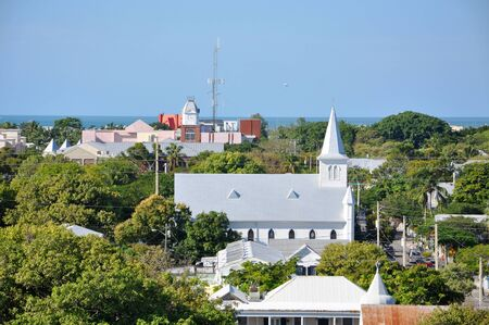 Key West Old Town and Cornish Memorial AME Zion Aerial view from Key West Lighthouse in Key West, Florida, USA. Stock Photo