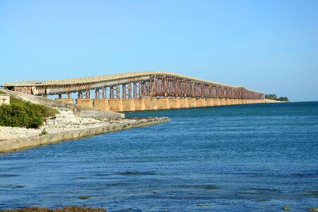 Bahia Honda Rail Bridge is a disused rail bridge connects Bahia Honda Key and Spanish Harbor Key near Key West, Florida Keys, USA
