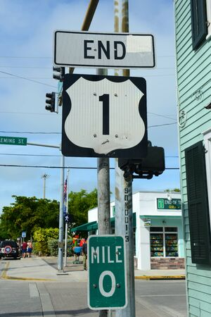 End Point of US Route 1 sign (Mile zero) in Key West, Florida, USA. Stock Photo