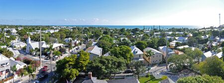 Aerial view of Key West Old Town and Whitehead Street from Key West Lighthouse in Key West, Florida, USA.