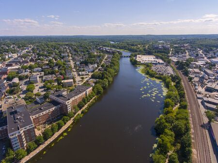 Charles River aerial view in downtown Waltham, Massachusetts, MA, USA.