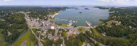 Hingham Harbor panorama aerial view in Hingham near Boston, Massachusetts, USA.