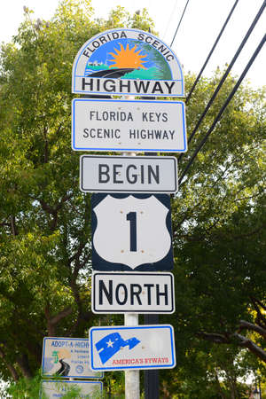 Starting Point of US Route 1 sign (Mile zero) in Key West, Florida, USA.