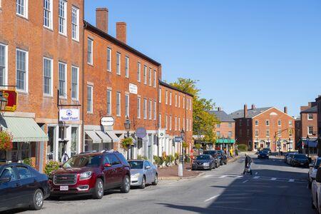 Newburyport historic buildings at State Street in downtown Newburyport, Massachusetts, MA, USA.