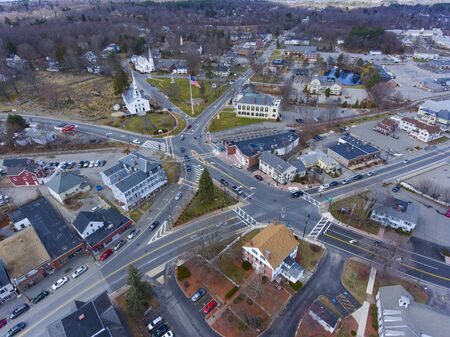 Chelmsford historic town center including the Town Common and Central Square aerial view in spring, Chelmsford, Massachusetts, MA, USA.