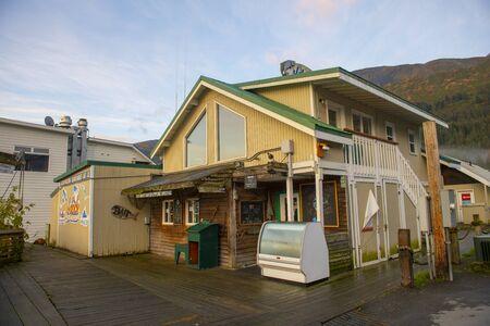 Historic buildings at Seward Boat Harbor in Seward, Kenai Peninsula, Alaska, AK, USA. Seward is a city near Kenai Fjords National Park.