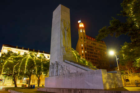 Alamo Cenotaph Monument on Alamo Plaza at night in San Antonio, Texas, USA.