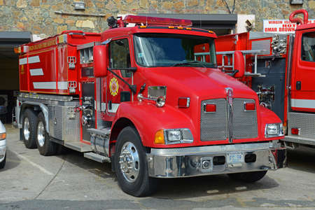 Fire Trucks in Charlotte Amalie, St. Thomas Island, US Virgin Islands, USA. Editorial