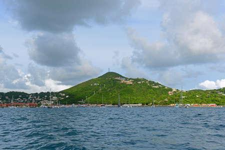 Crown Mountain and Long Bay at Charlotte Amalie at St. Thomas Island, US Virgin Islands, USA.