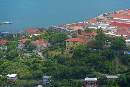 Town of Charlotte Amalie and Long Bay aerial view at Saint Thomas Island, US Virgin Islands, USA.