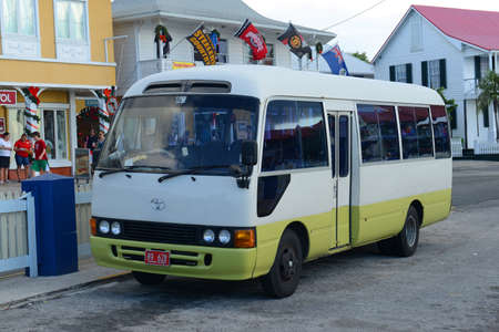 Tour Bus in downtown of George Town, Grand Cayman, Cayman Islands.