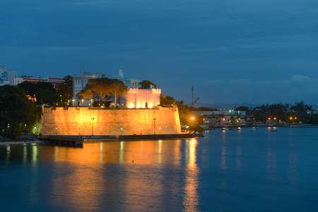 La Fortaleza (The Fortress) at night, San Juan, Puerto Rico. La Fortaleza is the official residence of Governor of Puerto Rico, which is also called Palacio de Santa Catalina (Santa Catalina's Palace)