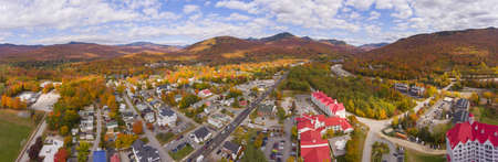 Lincoln Main Street at town center and Little Coolidge Mountain, Loon Mountain panorama on Kancamagus Highway aerial view with fall foliage, Town of Lincoln, New Hampshire NH, USA.