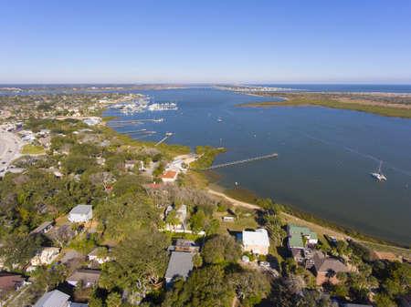 St. Augustine Salt Run coast aerial view near Matanzas River in St. Augustine, Florida, USA.