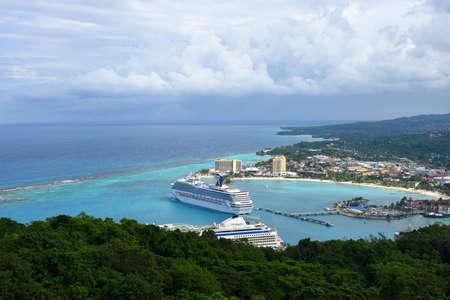 Cruise ship anchor offshore in Ocho Rios, Jamaica.