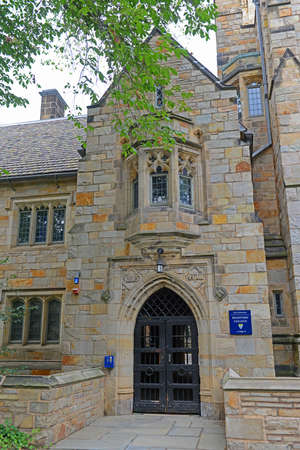 Gateway to Branford Hall in Yale University, New Haven, Connecticut, USA.