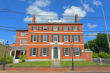 Historic Building on Pleasant Street in downtown Portsmouth, New Hampshire, USA.