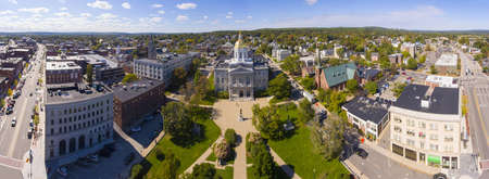 New Hampshire State House aerial view panorama, Concord, New Hampshire NH, USA. New Hampshire State House is the nations oldest state house, built in 1816 - 1819. Foto de archivo