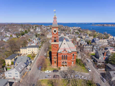 Abbott Hall, built in 1876, is located at 188 Washington Street and now is town hall of Marblehead, Massachusetts MA, USA. Фото со стока