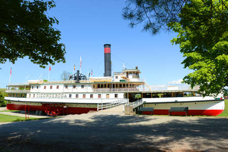 Ticonderoga was a steamboat served on Lake Champlain in 19th century. Now it was registered as a National Historic Places in Shelburne, Vermont VT, USA.