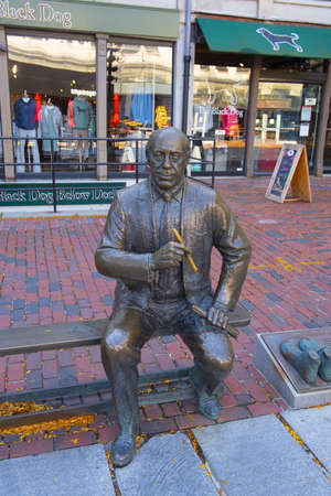Red Auerbach statue in Boston Quincy Market in downtown Boston, Massachusetts MA, USA.