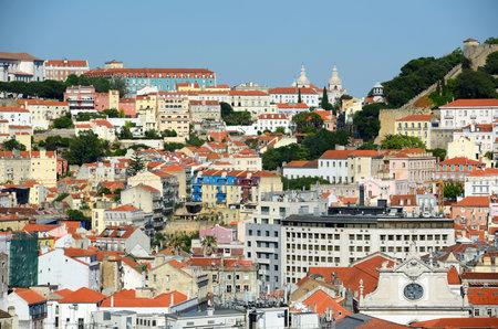 Baixa district of Lisbon, from Miradouro de Sao Pedro de Alcantara in city of Lisbon, Portugal.