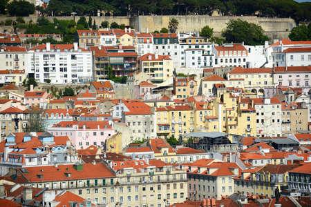Baixa district of Lisbon, from Miradouro de Sao Pedro de Alcantara in city of Lisbon, Portugal. Stock Photo