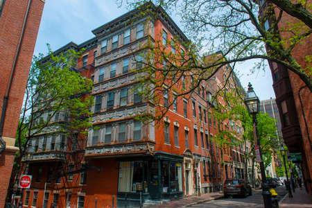 Historic Buildings at 35 Myrtle Street at S Russell Street on Beacon Hill, Boston, Massachusetts MA, USA.