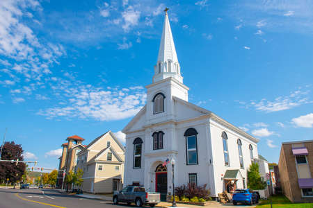 Evangelical Baptist Church at Veterans Square in city of Laconia, New Hampshire NH, USA. Stock Photo