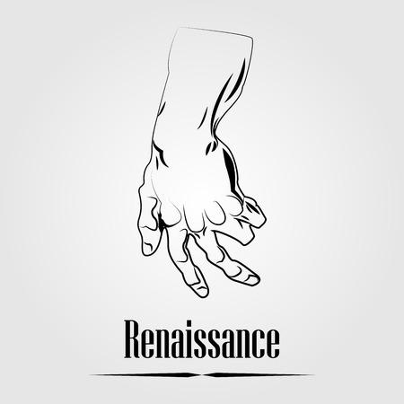 michelangelo: renaissance hand element Illustration