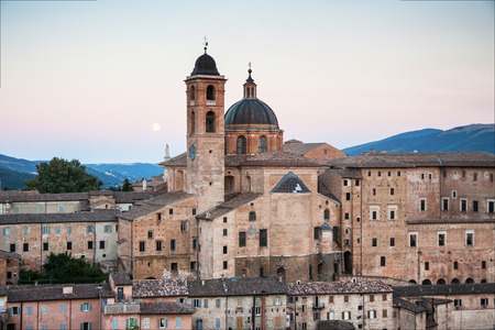 duke: evening panoramic view of the city of Urbino, Italy